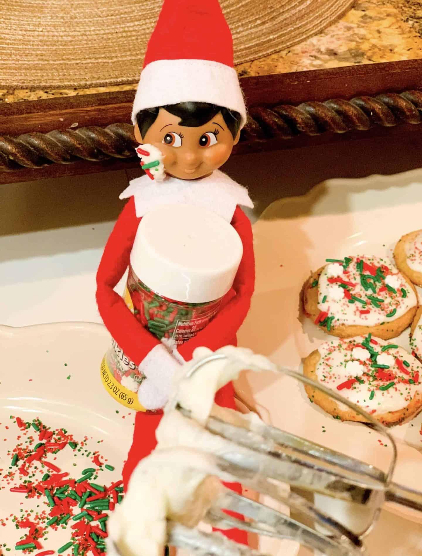 Elf on the shelf gets into Christmas cookies