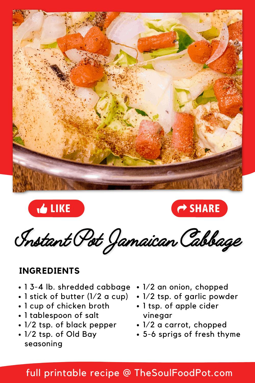Instant Pot Cabbage Recipe Card