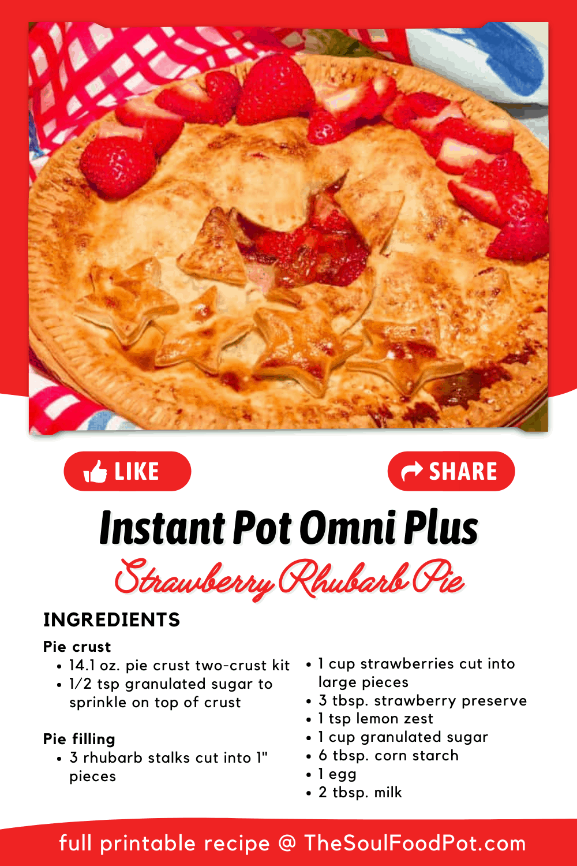 Easy Bake Strawberry Rhubarb Pie Recipe Card