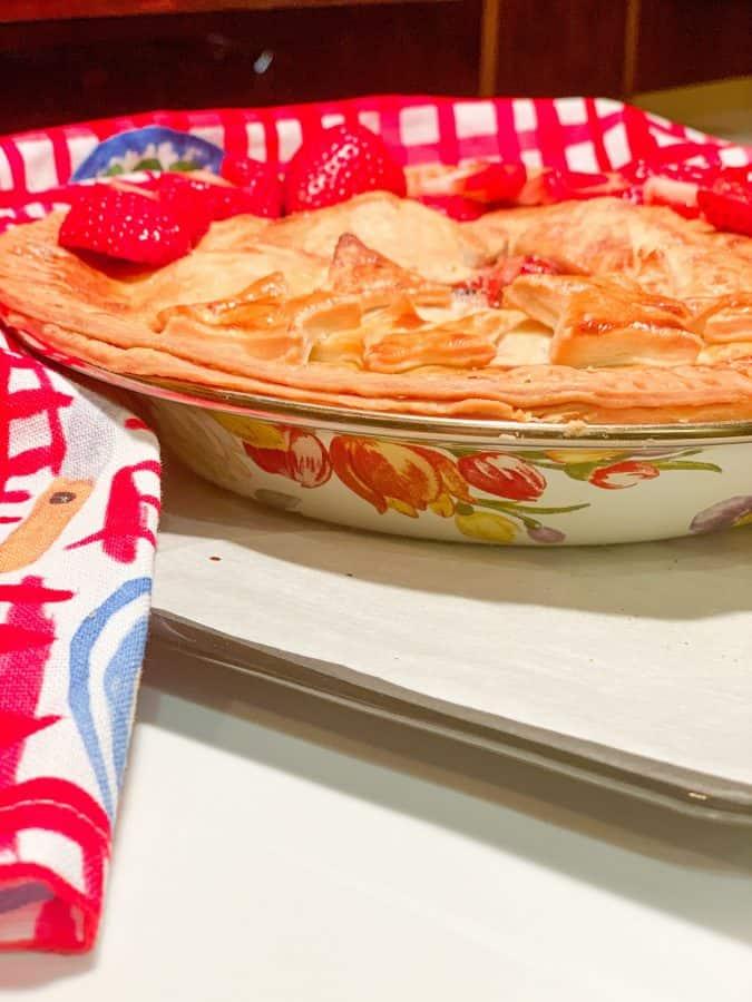 strawberry rhubarb pie in a MacKenzie-Childs Flower Market pie pan
