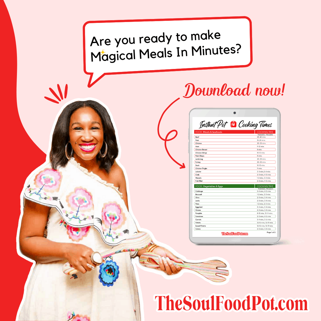Instant Pot Cooking Times Chart by The Soul Food Pot