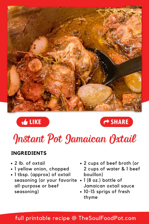 Jamaican Oxtail Instant Pot Ingredients