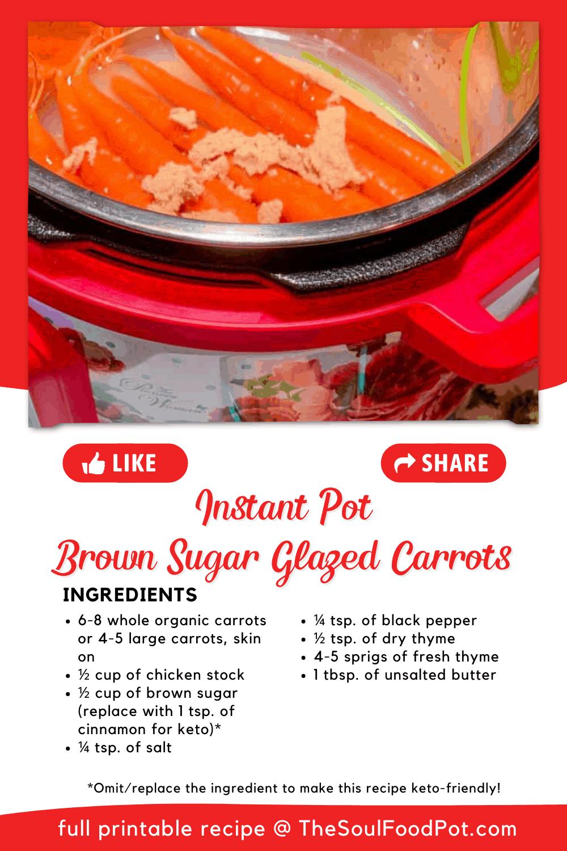 Instant Pot Brown Sugar Glazed Carrots Recipe Card