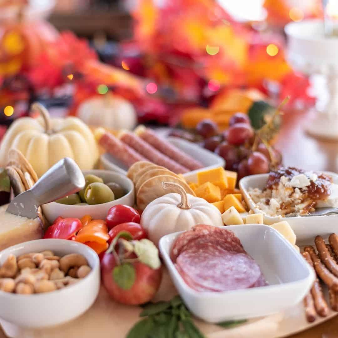 Halloween Charcuterie Board With Pumpkin & Cured Meats