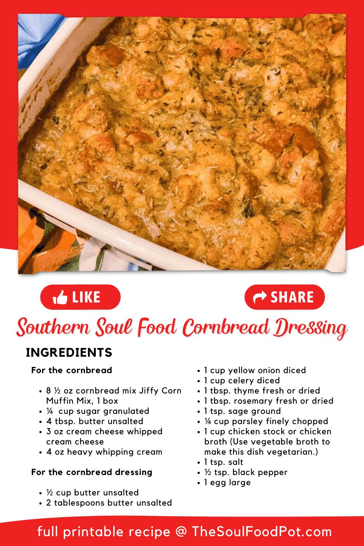Southern Soul Food Cornbread Dressing Recipe Card